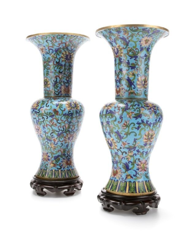 Pair of Chinese Gu-form cloisonne enameled vases