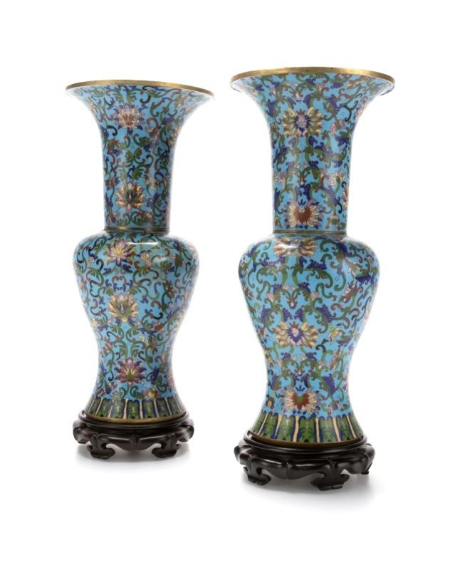 Pair of Chinese Gu-form cloisonne enameled vases - 2
