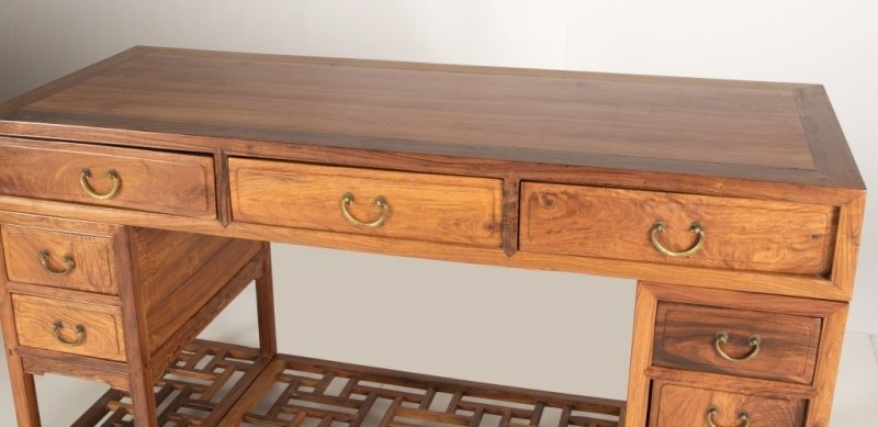 A Chinese carved huanguali kneehole desk - 4