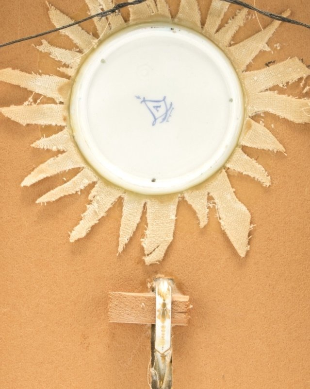 A framed Sevres-style bleu celeste cup and saucer - 3