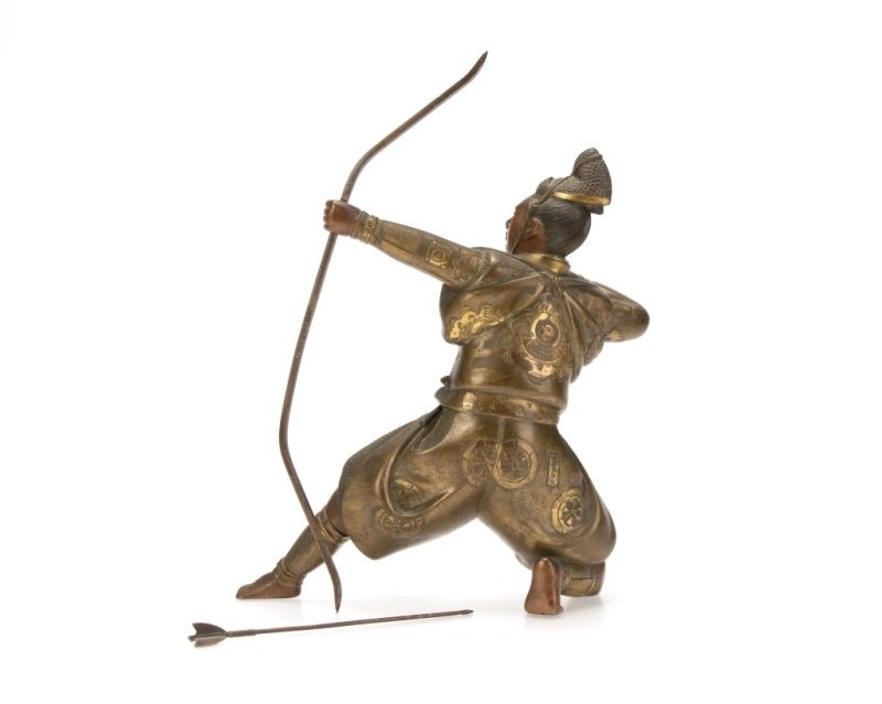 A bronze sculpture of a samurai warrior - 3