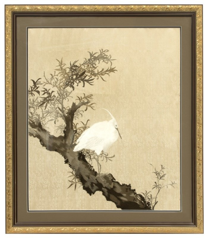 A Japanese framed embroidered silk panel - 2