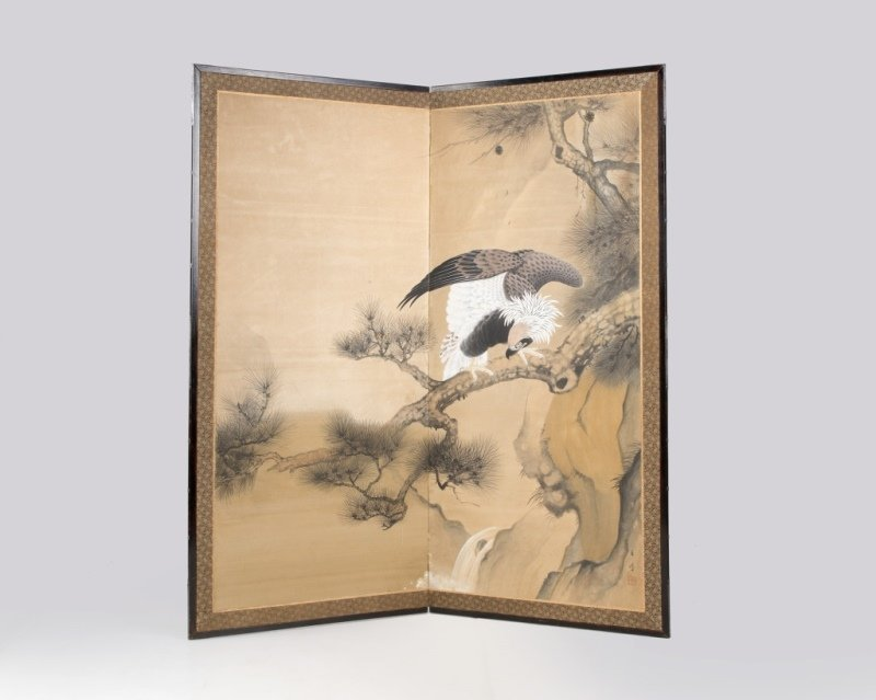 A Japanese two-panel folding byobu floor screen