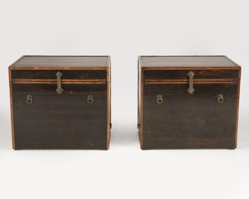 A pair of Japanese lacquered storage chests