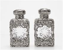 Pair of English sterling silveroverlaid decanters