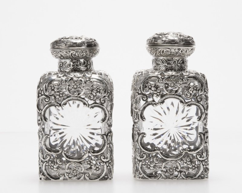 Pair of English sterling silver-overlaid decanters