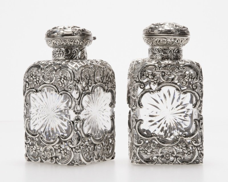 Pair of English sterling silver-overlaid decanters - 2