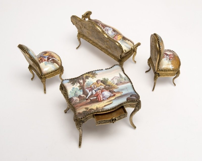 A suite of miniature enameled brass furniture - 2