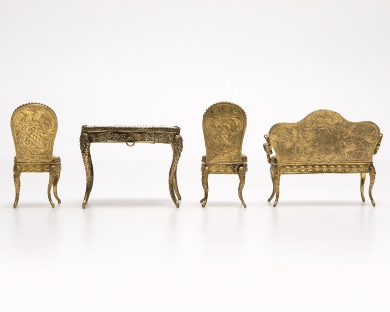 A suite of miniature enameled brass furniture - 3