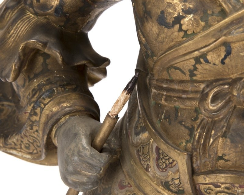 A Japanese carved and polychromed temple guard - 7