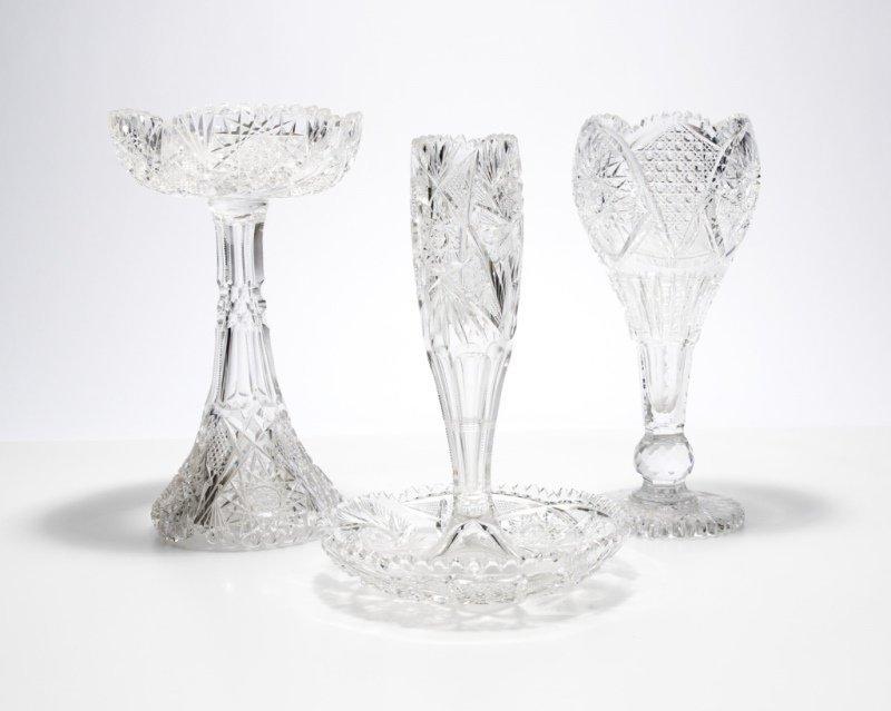 Three American brilliant-cut glass objects