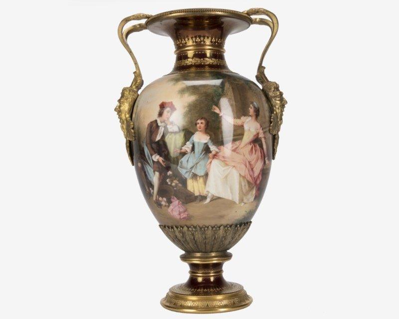 A Berlin / KPM gilt bronze-mounted porcelain vase