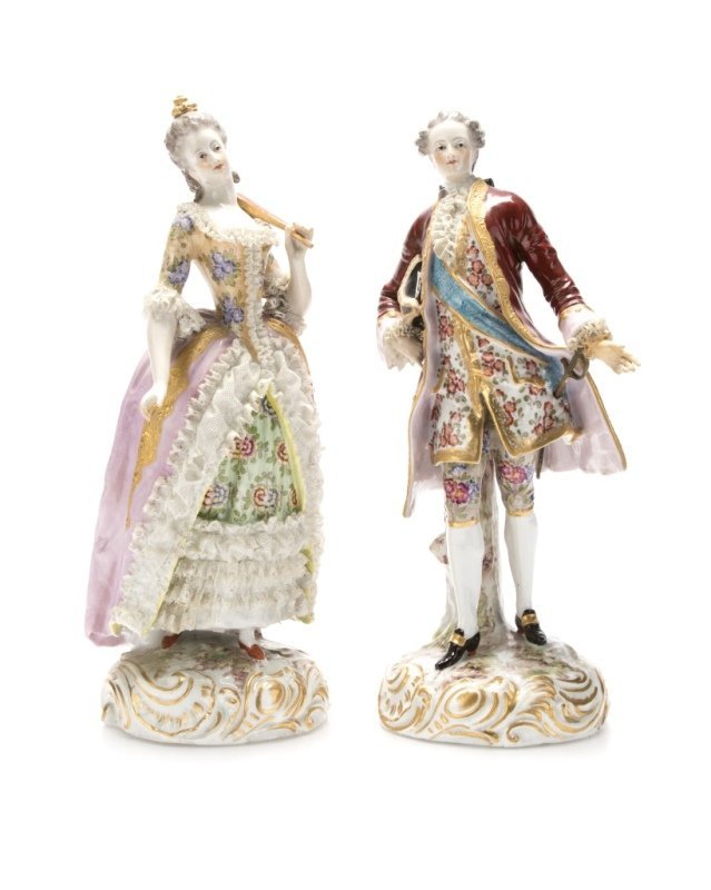 A pair of Meissen-style porcelain figures