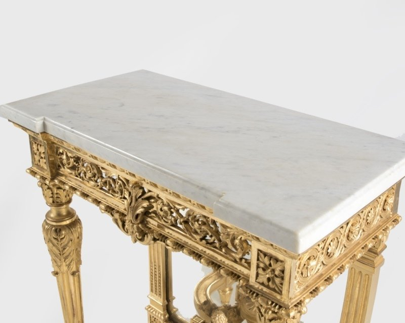 A Louis XVI-style carved giltwood console table - 2