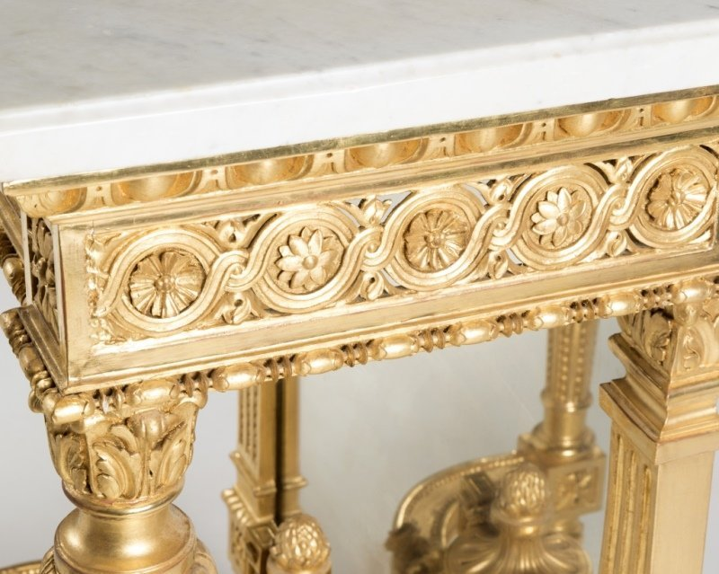 A Louis XVI-style carved giltwood console table - 3