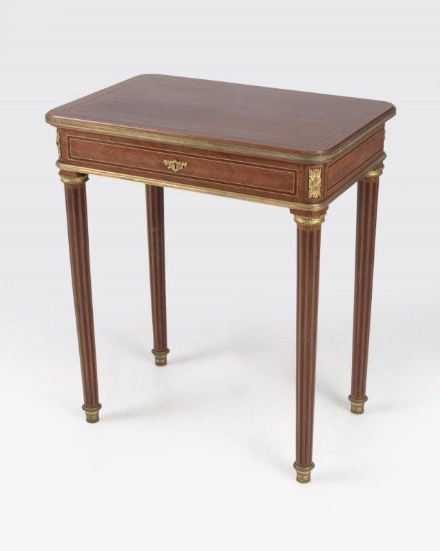 A parquetry lamp table, Maison Krieger