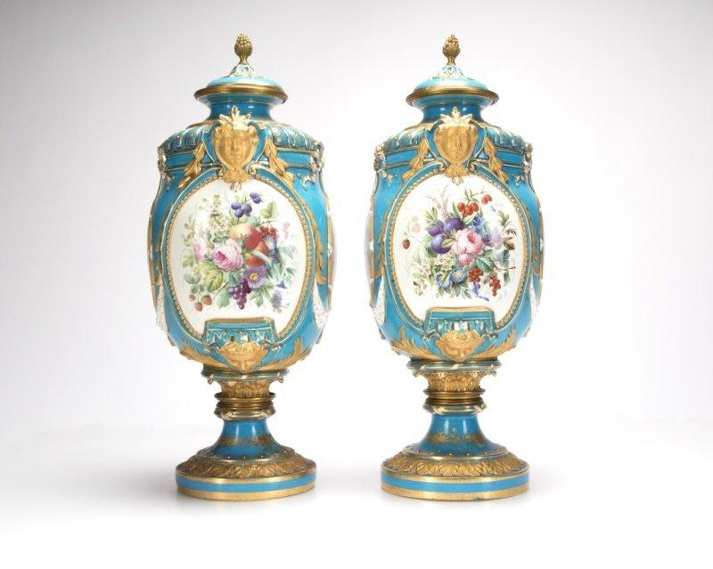 Pair of Sevres bleu celeste porcelain lidded urns - 2