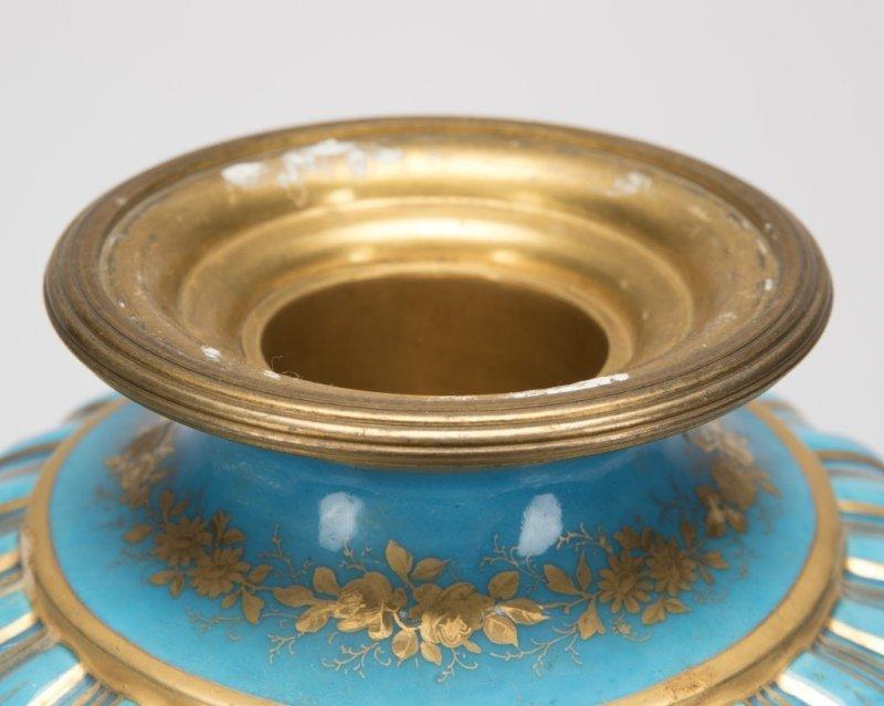 Pair of Sevres bleu celeste porcelain lidded urns - 3