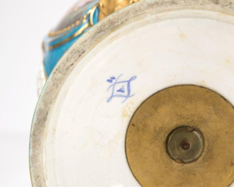 Pair of Sevres bleu celeste porcelain lidded urns - 4