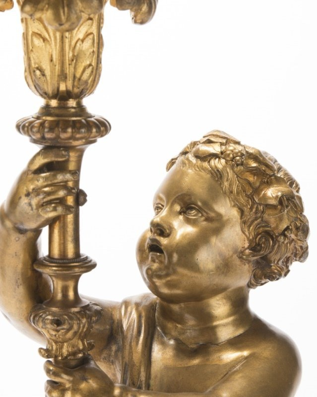 Pair of marble and gilt-bronze figural candelabra - 3