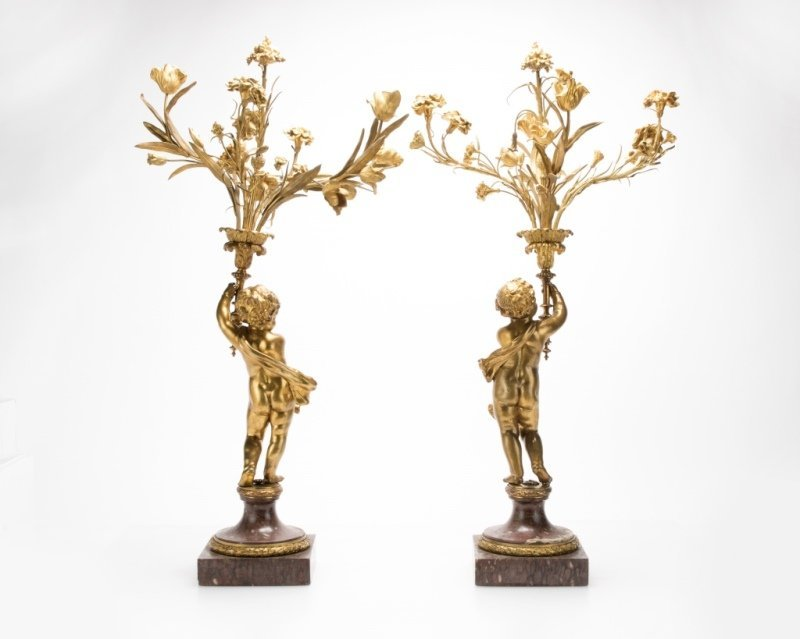 Pair of marble and gilt-bronze figural candelabra - 6