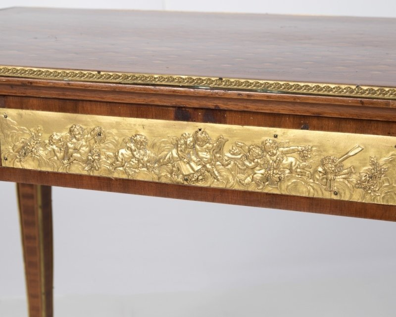 A Louis XVI-style parquetry library table - 3