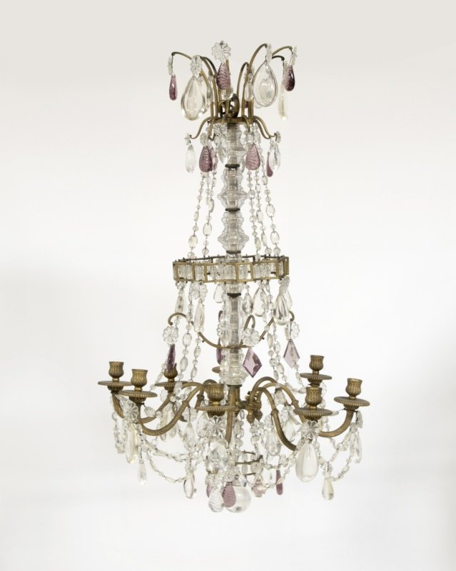 A French gilt bronze and cut-crystal chandelier