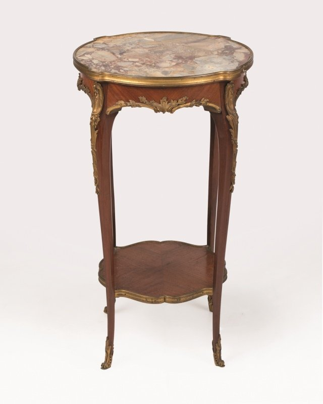 A Louis XV-style gilt bronze-mounted lamp table