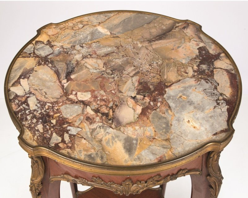 A Louis XV-style gilt bronze-mounted lamp table - 2