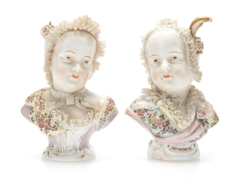 A pair of German porcelain busts
