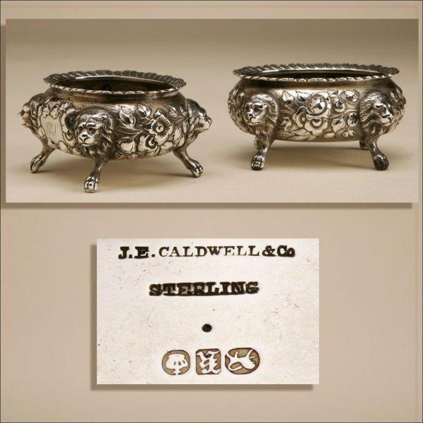 1004: A PAIR OF J.E. CALDWELL STERLING SALT CELLARS