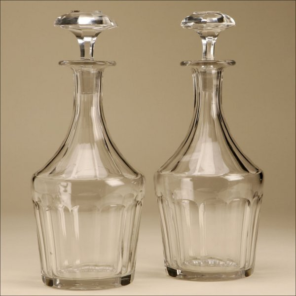 1008: A PAIR OF CUT-GLASS DECANTERS