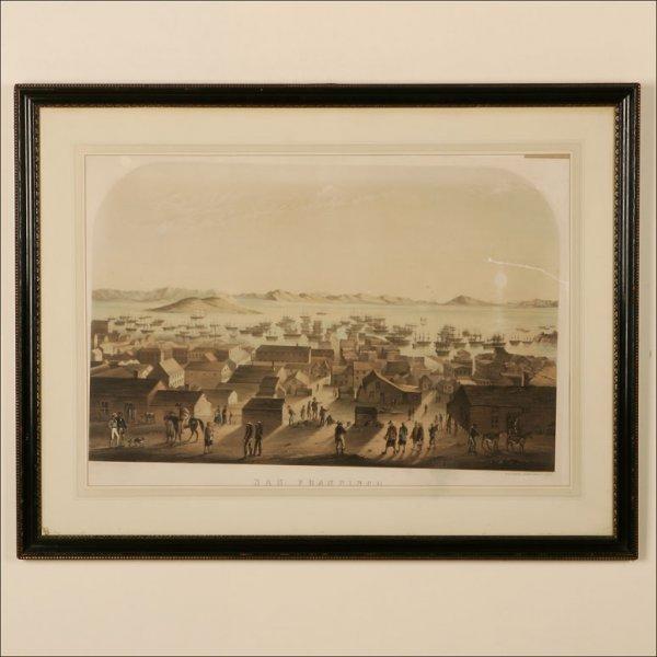 1057: A FRAMED CHROMOLITHO DEPICTING SAN FRANCISCO