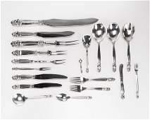 A Georg Jensen sterling silver flatware service