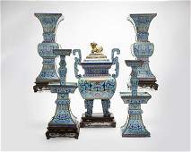 An 18th century Chinese Imperial altar set