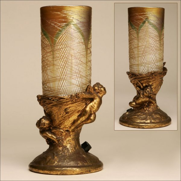 2011: A GILT-BRONZE AND FAVRILLE GLASS TABLE LANTERN