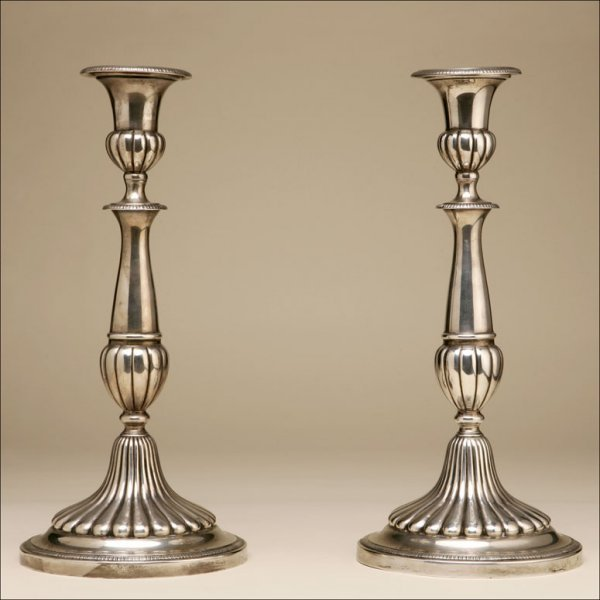 2021: A PAIR OF STERLING SILVER CANDLESTICKS