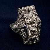 2150: AN ART DECO STYLE PLATINUM/DIAMOND COCKTAIL RING