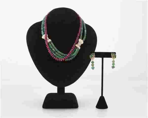 A group of three gemstone bead jewelry items