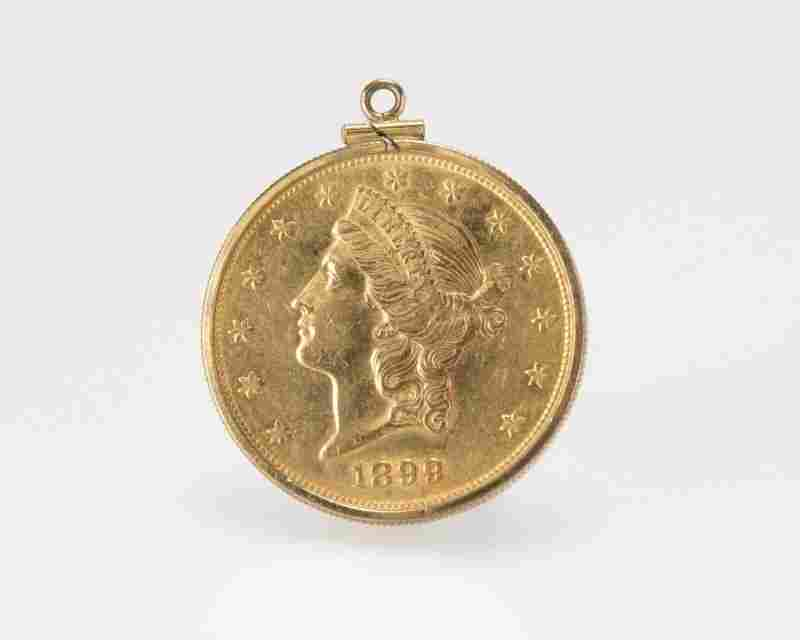 A US gold $20 coin pendant