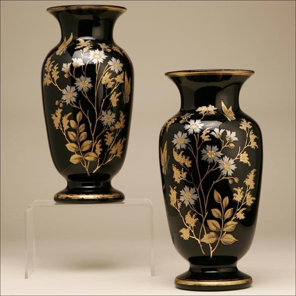 1004: A PAIR OF ENGLISH BRISTOL BLACK BUTTERFLY VASES