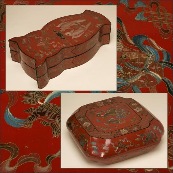 1008: TWO CHINESE RED-LACQUER BOXES, 19TH CENTURY