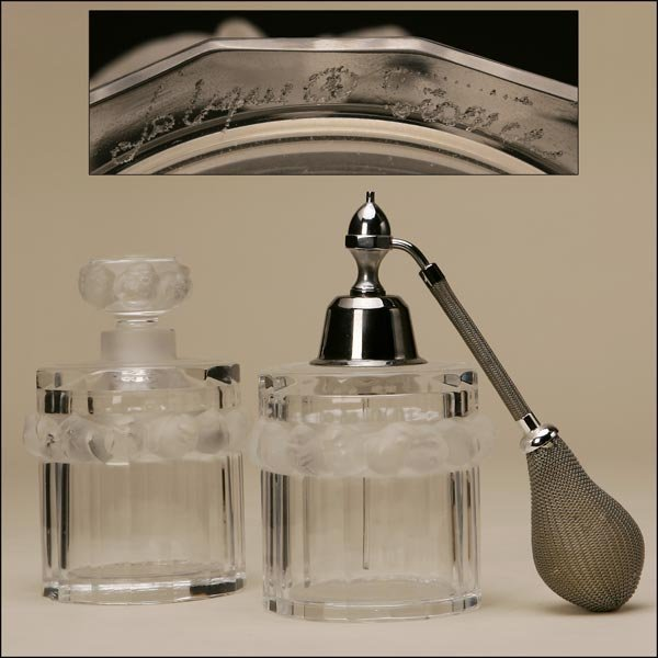 1018: A PAIR OF LALIQUE PERFUME BOTTLES