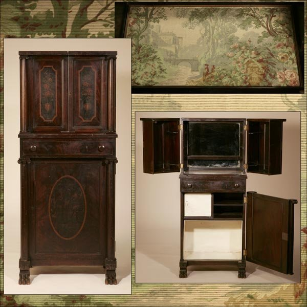 1019: AN AMERICAN PAINTED MAHOGANY DRINKS CABINET