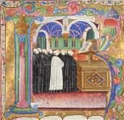 Italian antiphonal choir book illuminated fragment