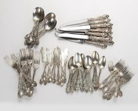 Wallace sterling silver flatware set, ''Violet''