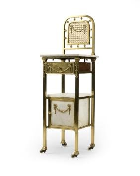 A French polished brass and marble washstand