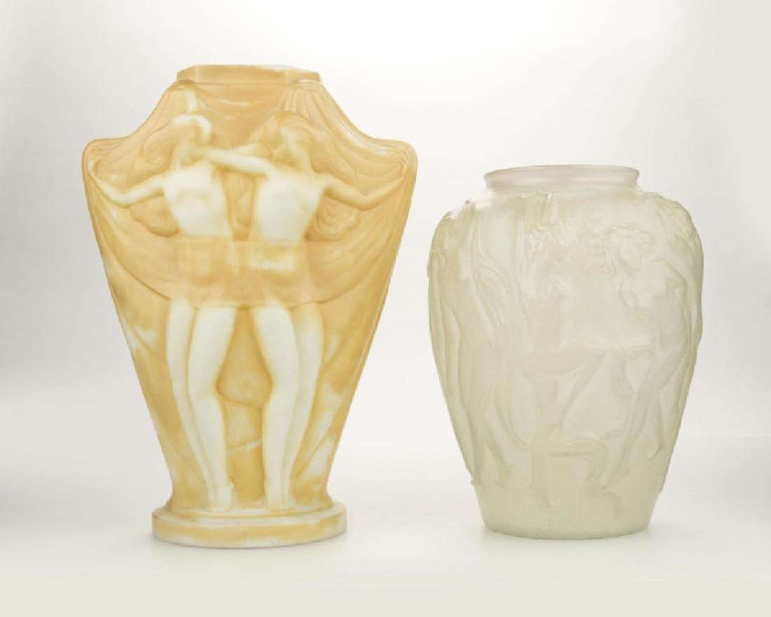 Two figural art glass vases, one Phoenix
