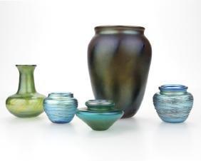 5 studio art glass vases, Grant Randolph Studios