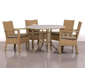 A group of contemporary Kettal patio dining set